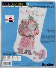 Vintage Bucilla Colorpoint Paint Stitching Antique Santa Christmas Stocking Kit