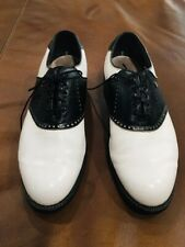 Vintage Footjoy Classics-Dry Mens Golf Shoes 51326 Wh/Blk 10D Made In Usa
