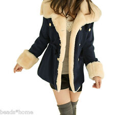 Women Warm Winter Trendy Faux Fur Hooded Parka Coat Overcoat Jacket Outwear Navy