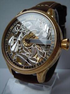 OMEGA Vintage Mens Wrist Watch Gold Skeleton Mechanical Wristwatch