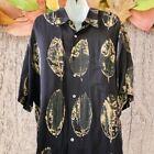 Tori Richard Hawaiian Button Up Shirt SILK BLEND Black Banana Leaf Mens XL