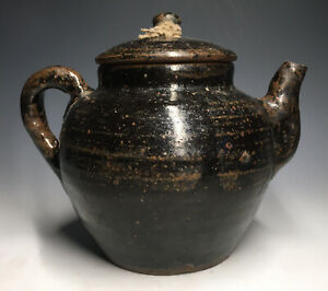 Antique Black Glazed Ewer Pot w/ Lid Chinese or Early American Teapot