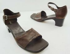 """Cole Haan 8 AA City Brown Leather Ankle Strap 2"""" Heels Sandals Made in Brazil"""