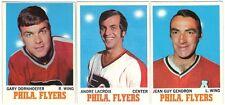 7 1970-71 TOPPS HOCKEY PHILADELPHIA FLYERS CARDS (DORNHOEFER/LACROIX+++)