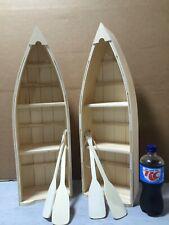 TWO New Unfinished Wood Row Boat Shelf Shelves w/ Oars 24