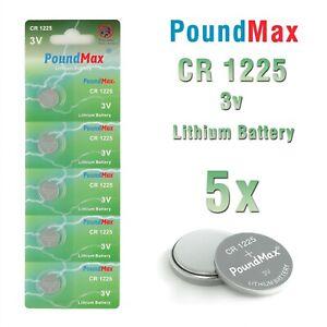 5 X Super 1225 CR1225 DL1225,ECR1225, BR1225, 3V PoundMax Lithium Coin Batteries