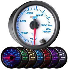 52mm GlowShift White 7 Color Oil Temperature Temp Gauge w Sensor - GS-W707