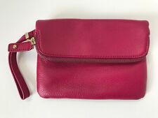 Talbots Magenta Soft Pebble Leather Fold over Wristlet Clutch Purse