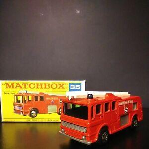 Matchbox Lesney Superfast #35 Merryweather Fire Engine. In Original Crisp Box VM