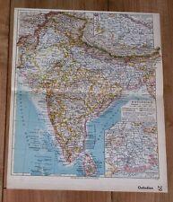 1939 ORIGINAL VINTAGE MAP OF BRITISH INDIA / PAKISTAN KASHMIR PUNJAB NEPAL