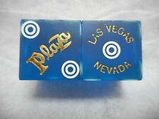 Pair of PLAZA LV Casino Dice - Matte Blue, Matching #s, Bullseye Pips