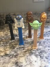 STAR WARS PEZ SET- R2D2, YODA, DARTH VADER, C3PO, CHEWY- May The Force B