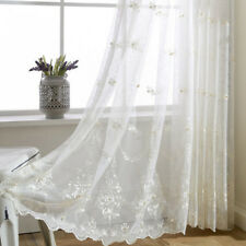 Embroidery Beading Sheer Curtain White Tulle Lace Snidel European Drape 1 Piece