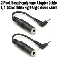 """2-Pack Hosa Stereo Headphone Adapter 1/4"""" TRS Female to 3.5mm Right Angle Male"""