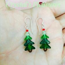 ChristmasGreen  Tree  Swarovski  Element SS .925 Earrings