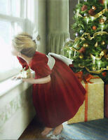 Oil painting nice young girl in Christmas day Christmas tree free shipping cost