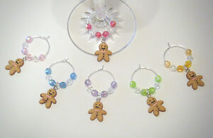 Set of 6 Gingerbread Men coloured wine glass charms ideal gift / party