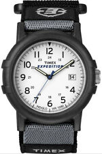 Mens Timex Indiglo Expedition Camper Black Canvas Band White Dial Watch T49713