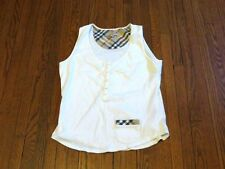 Women's Burberry London Nova Check White Button Tank Top sz M