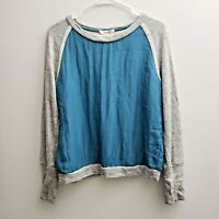 Sundance Gray Turquoise Crew Sweatshirt Sz Medium Cotton Silk Pullover Sweater