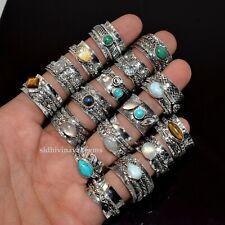 10 PCs. Bulk Lot Natural Larimar, Labradorite Spinner 925 Silver Plated Rings