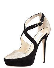 Jimmy Choo Tulip Black Suede Platform Pump Gold Glitter Front HEELS 40 Shoe 9