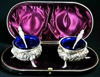 PAIR 1894 VICTORIAN CAULDRON SILVER SALTS / POTS by THOMAS HAYES. CASED. ANTIQUE