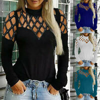Plus Size Sexy Women Solid Casual Tops Long Sleeve Cut Hollow Out Blouse T-Shirt