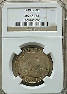 1949 D US Franklin Half Dollar, 50 Cents, NGC MS 63 FBL
