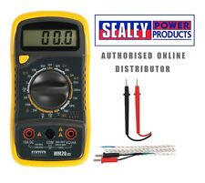Sealey mm20 Digital Ac Dc multimeter/voltmeter + prueba leads/probe & Termocupla