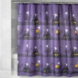 """PURPLE SPOOKY TOWN HALLOWEEN SHOWER CURTAIN ~ 72"""" X 72"""" ~ WASHABLE ~ NEW"""