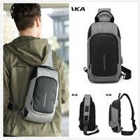 KAKA Men's Chest Bag Witg USB Charging Design Messenger Crossbody Nylon