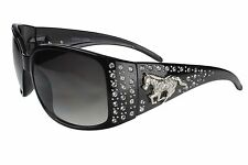 G&G Sunglasses Womens Rhinestone Horse Emblem Black SIL Frame Gray Gradient Lens