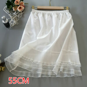 Women Lace Splice Petticoat Skirt Pleated Half Slip Underskirt Ruffle Thin White