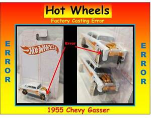 Hot Wheels 55 Chevy Gasser Bel Air Pearl White Factory Casting ERROR Mistake