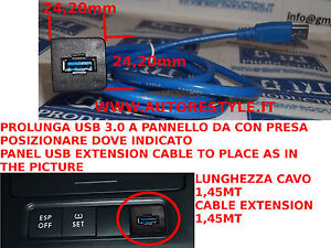 1,45MT USB Extension Cable 3.0 2.0 With Plastic Panel To Fit IN VW Golf Passat