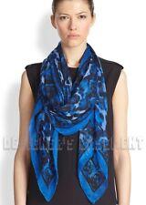 "ALEXANDER MCQUEEN blue ANIMALIER SKULL print 52""-Square silk scarf NWT Authentic"
