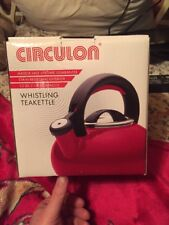 Circulon Teakettles 1.5 Quart Sunrise Whistling Water Boils Solid Steel Red