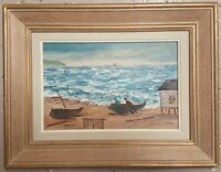 VINTAGE CANADIAN FOLK ART FRENCH QUEBEC GASPE PENINSULA FISHING BOATS PAINTING