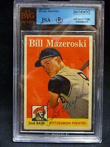 1958 Topps Bill Mazeroski #238 BVG Authentic Autographed JSA HOF Pirates