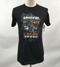 Loser Machine Men's T-Shirt American Convoy Black Size M NWT Eagle Flag Semi
