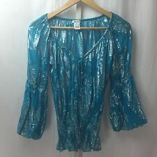 Vintage Cache Boho Blouse Blue and Silver Metallic 3/4 Sleeve V Neck Sz XS