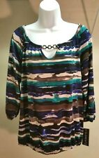 NWT $40 Elementz Women's Multi-Color 3/4 Sleeve Top Blouse Tunic Size: M