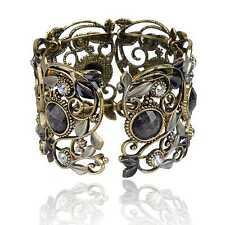 Vintage Bronze Resin Diamante Gem Hollow Vogue Carved Cuff Bangle Bracelet