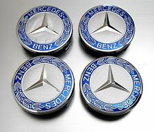 MERCEDES-BENZ WHEEL CENTER CAPS BLUE WREATH RIM HUBCAPS EMBLEM 4PCS 75mm NEW