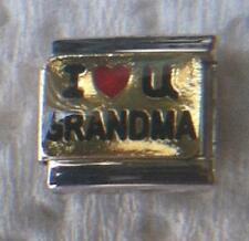 """ I :LOVE YOU GRANDMA"" ON GOLD 9MM CHARM-BOND, HEARTFELT,GRANDCHILDREN"