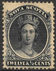 NOVA SCOTIA 1860 12 1/2c black on yellowish paper, mint hinged. SG 17. Cat.£38.