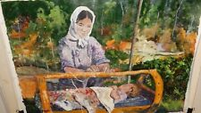 ANGELA CASAROTTI MOTHER AND CHILD ORIGINAL OIL ON CANVAS PAINTING