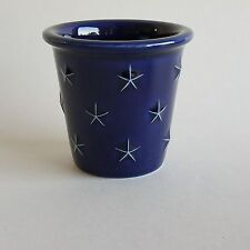 Set of 2 Longaberger Pottery Proudly American Votive Holders in American Blue