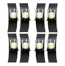 WALL SCONCE SET: 8 Mod-Art Matte Black Votive Candle Holders NEW